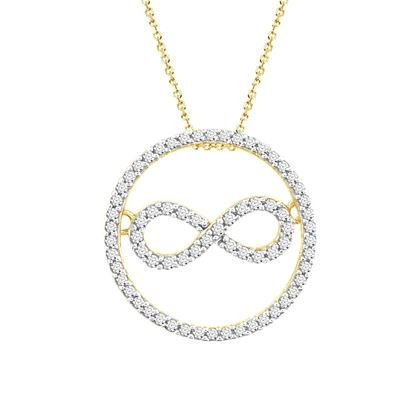 Picture of 0.30 CT ROUND DIAMOND SET IN 10 KT YELLOW GOLD LADIES PENDANT