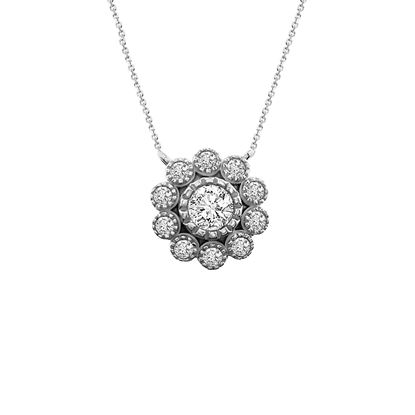 Picture of 0.50CT RD DIAMONDS SET IN 14KT WHITE GOLD LADIES PENDANT WITH CHAIN