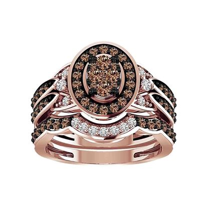 Picture of 1.00CT RD/CHOCO DIAMONDS SET IN 14KT ROSE GOLD LADIES BRIDAL RING