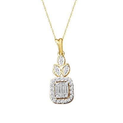 Picture of 0.25CT RD/BGT DIAMONDS SET IN 14KT YELLOW GOLD LADIES PENDANT
