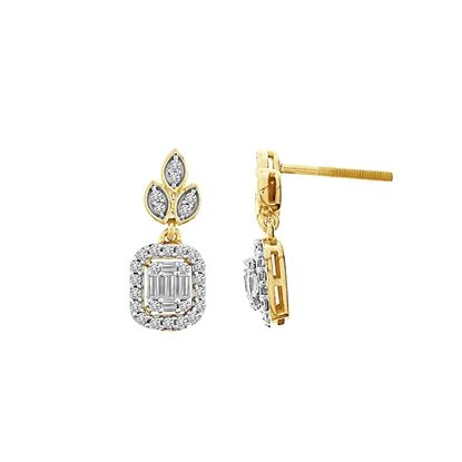 Picture of 0.50CT RD/BGT DIAMONDS SET IN 14KT YELLOW GOLD LADIES EARRING