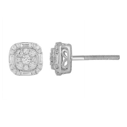 Picture of 0.65CT RD/BGT DIAMONDS SET IN 14KT WHITE GOLD LADIES EARRING