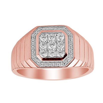 Picture of 0.50CT RD DIAMONDS SET IN 10KT ROSE GOLD MENS RING