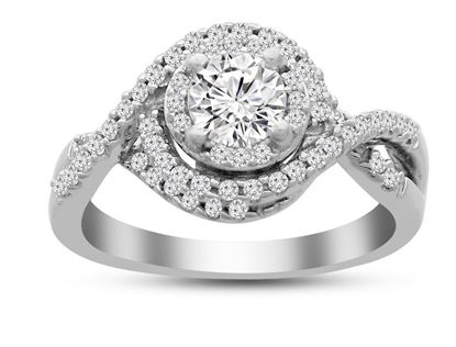 Picture of 1.00CT WITH 0.65CTR RD DIAMONDS SET IN 14KT WHITE GOLD LADIES RING
