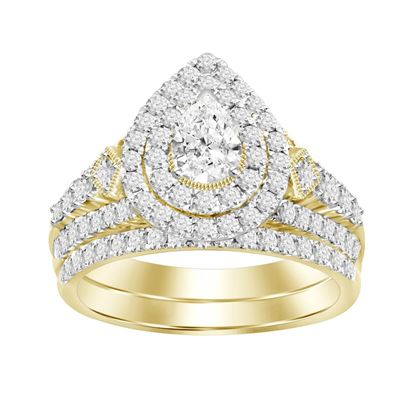 Picture of 1.50CT RD/PEAR DIAMONDS SET IN 14KT YELLOW GOLD LADIES BRIDAL RING