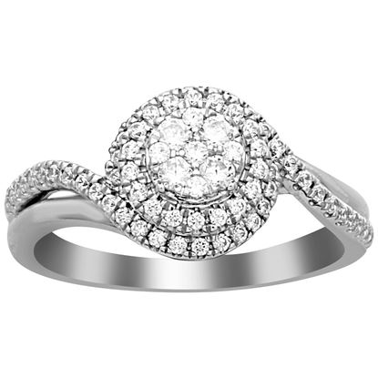 Picture of 0.50 CT ROUND DIAMOND SET IN 10 KT WHITE GOLD LADIES RING