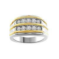 Picture of 1.00CT RD DIAMONDS SET IN 10KT TT WHITE & YELLOW GOLD MENS RING