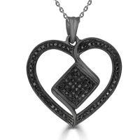 Picture of 0.33CT RD/BLCK DIAMONDS SET IN SILVER LADIES HEART PENDANT