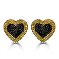 Picture of 0.55CT RD/BLCK/CANARY DIAMONDS SET IN SILVER LADIES EARRING