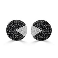 Picture of 0.75CT RD/BLCK DIAMONDS SET IN SILVER LADIES EARRING