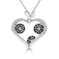 Picture of 0.25CT RD/CHOCO DIAMONDS SET IN 10KT WHITE GOLD LADIES HEART PENDANT