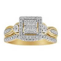 Picture of 0.33CT RD/PC DIAMOND SET IN 10KT YELLOW GOLD LADIES BRIDAL RING