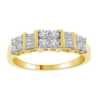Picture of 0.50CT RD/BGT DIAMONDS SET IN 10KT YELLOW GOLD LADIES RING